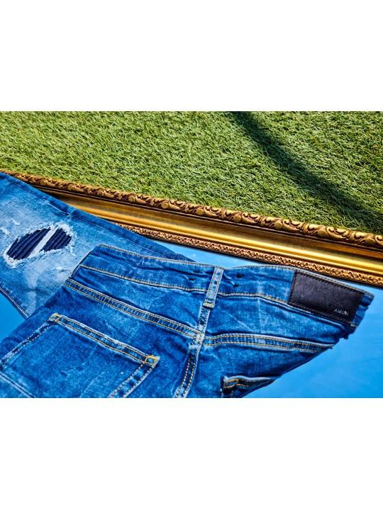 Мъжки сини дънки с камъчета