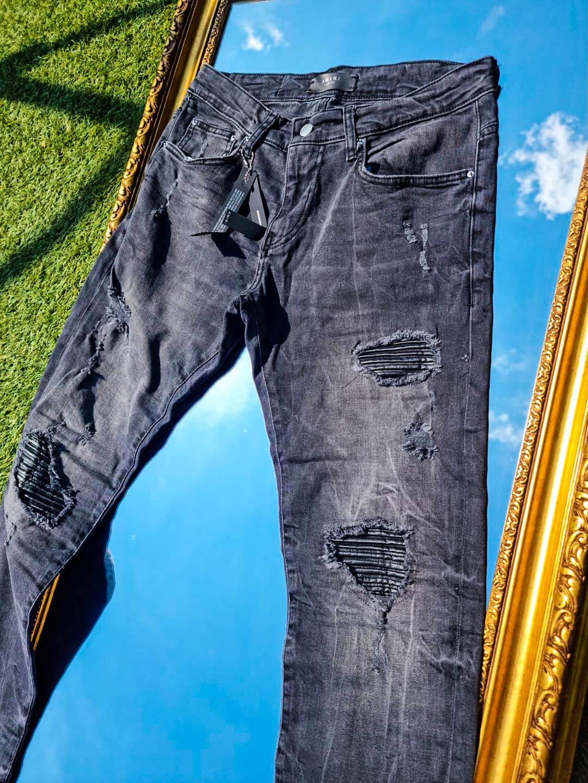 Мъжки черни дънки с кожа
