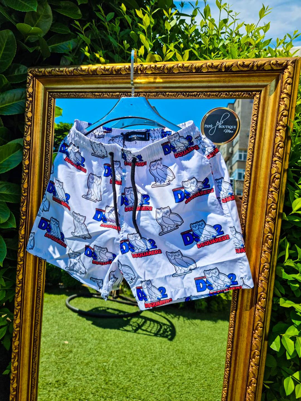 Мъжки плувни шорти с бухал в бяло