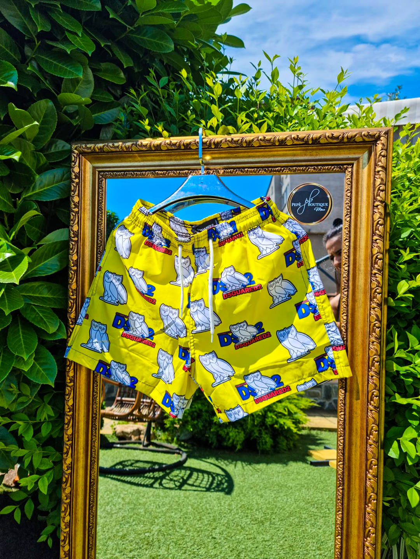 Мъжки плувни шорти с бухал в жълто