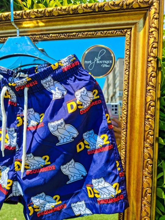 Мъжки тъмно сини плувни шорти с бухал