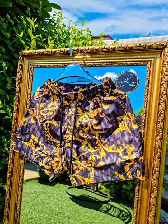 Мъжки черни плувни шорти със златно