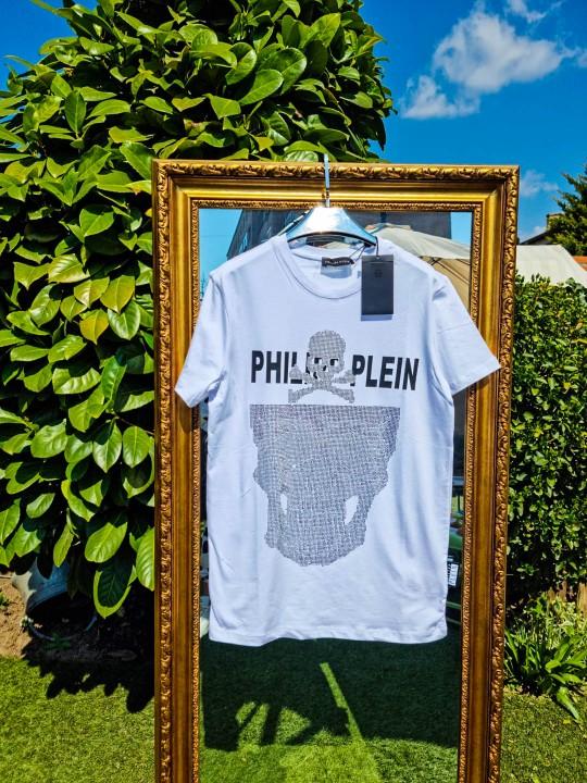 Мъжка бяла тениска с камъни