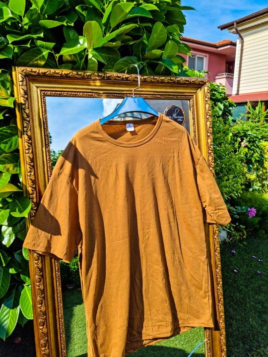 Мъжка тениска Oversize камел