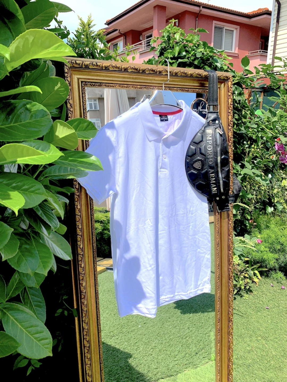 Мъжка бяла тениска с яка