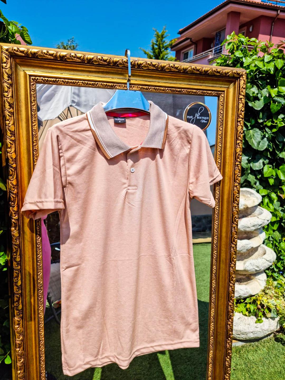 Мъжка светло оранжева тениска с яка