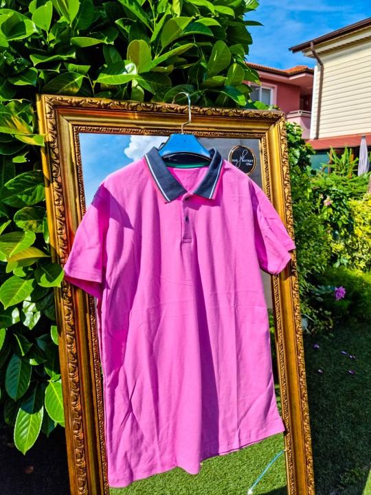 Мъжка розова тениска с яка