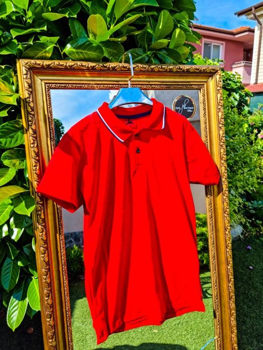Мъжка червена тениска с яка
