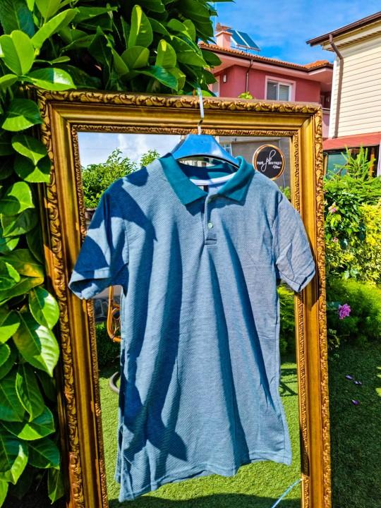 Мъжка зеленa тениска с яка