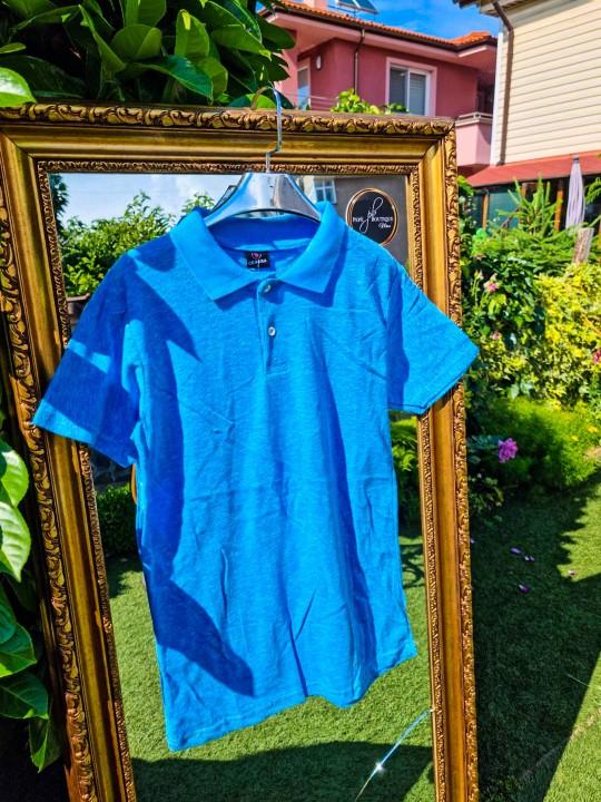 Мъжка тениска с яка Blue