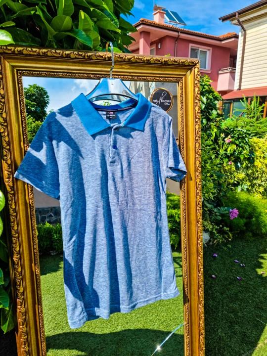 Мъжка тениска с яка Light Blue