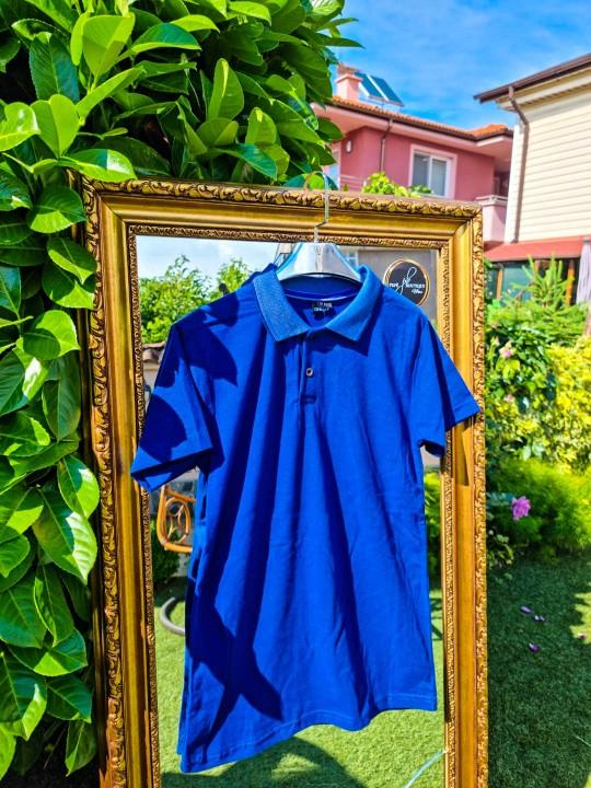 Мъжка синя тениска с яка
