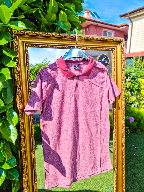 Мъжка тениска с яка в антично розово