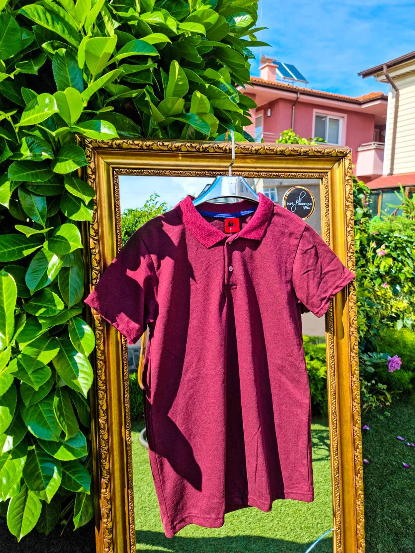 Мъжка тениска с яка във винено червено