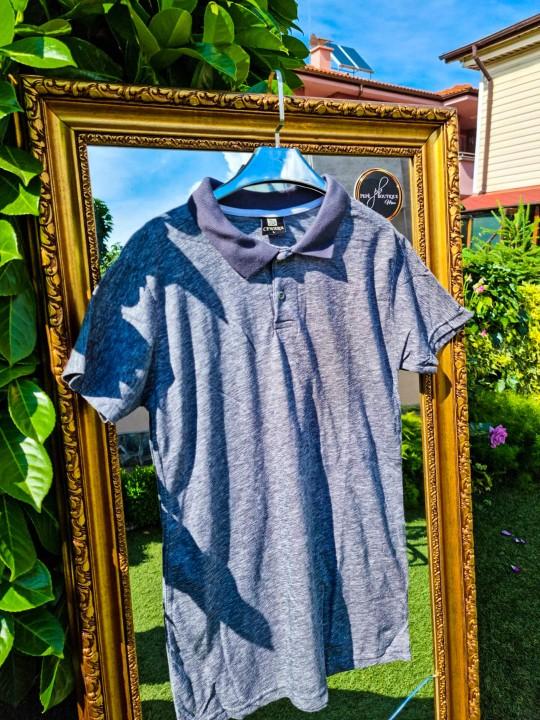 Мъжка тениска с яка в металик сиво
