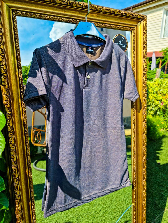 Мъжка тениска с яка в платинено сиво