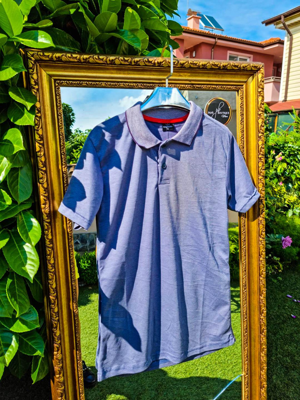 Мъжка лилава тениска с яка