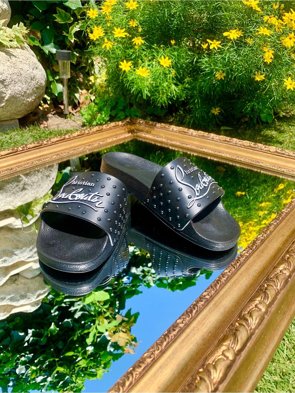 Мъжки черни чехли с шипове