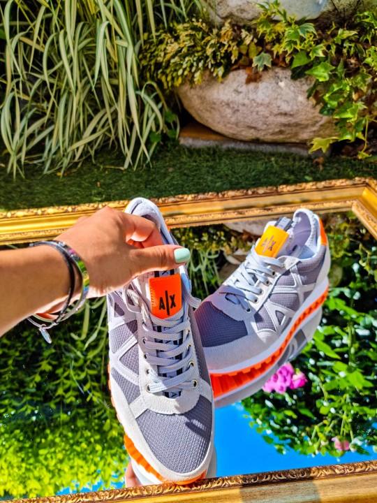 Мъжки бежави маратонки с оранжево АХ